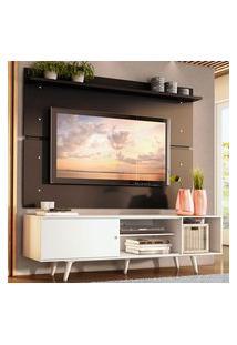 Rack Madesa Dubai E Painel Para Tv Até 65 Polegadas Com Pés - Branco/Preto 0977 Branco