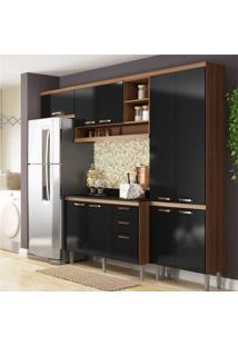 Cozinha Compacta Itália 9 Ptas 5197 Multimóveis Nogueira/Preto