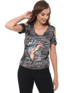 Camiseta Triton Ombros Vazados Grafite