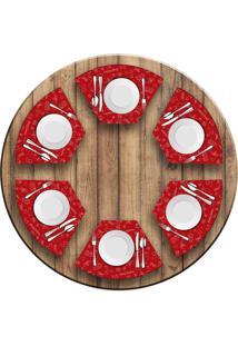 Jogo Americano Love Decor Para Mesa Redonda Wevans Elementos Natalinos Vermelho Kit Com 6 Pçs