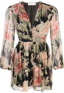 Zimmermann Vestido Estampado Floral - Preto