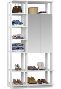 Closet 2 Portas Espelhadas 9007 Branco - Bentec