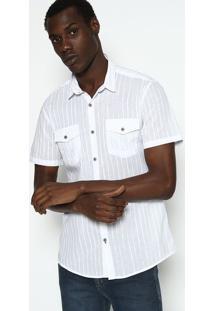 Camisa Slim Fit Listrada - Branca & Off Whitecalvin Klein