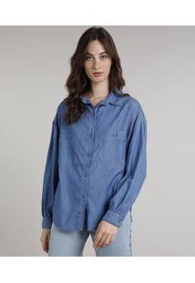 Camisa Jeans Feminina Mindset Ampla Com Bolsos Manga Longa Azul Médio
