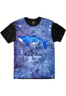 Camiseta Long Beach S Aquarela Baleia Brilho Sublimada Masculina - Masculino-Azul+Preto