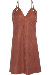 85d7d1778c ... Vestido Couro Slip Dress - Marrom