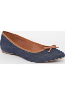 Sapatilha Jeans Com Recortes - Azul Escuro & Marromiã³Dice