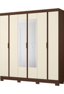 Guarda Roupa De Casal Itapoá 6 Portas C/ Espelhos Cedro/Off White Albatroz - Tricae