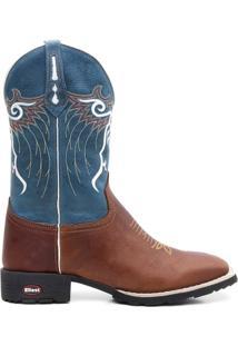 Bota Texana Crazy Horse Fossil Azul Marinho Lisa 0 - Masculino