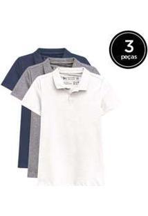 Kit De 3 Camisas Polo Femininas De Várias Cores