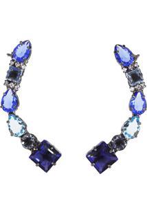 Brinco La Madame Co Ear Cuff Pedras Safiras Azuis