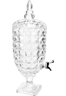 Dispenser/Suqueira Cristal Ecológico (Livre De Chumbo) Com Pé E Tampa Diamant 4,5L