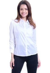 Camisa 101 Resort Wear Tricoline Branca Listras Azul