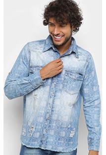 Camisa Manga Longa Jeans Zune Estampada Estonada Masculina - Masculino