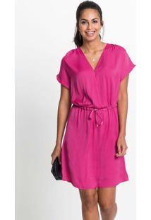 Vestido Acetinado Com Amarração Rosa Pink