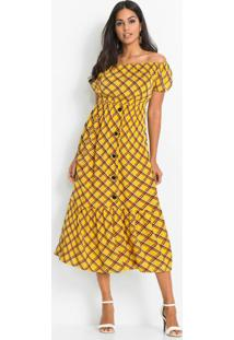 Vestido Ombro A Ombro Estampado Xadrez Amarelo