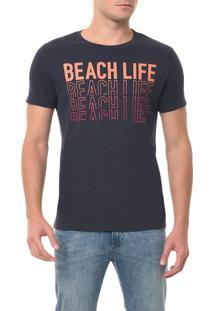 Camiseta Ckj Mc Estampa Beach Life Azul Escuro Camiseta Ckj Mc Estampa Beach Life - Azul Escuro - Gg