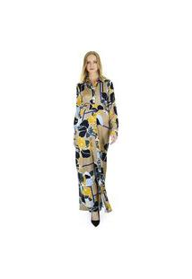 Vestido Chemise Longo Estampado Floral Com Abotoamento E Faixa Na Cintura Aha