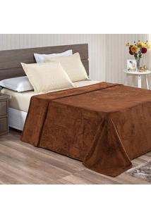Cobertor / Manta Casal Microfibra Flanel Lisa Marrom - 200 Gramas/M2