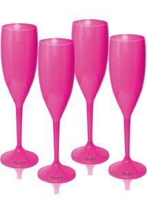 Kit 4 Taças Champagne 170Ml Rosa Acrílico