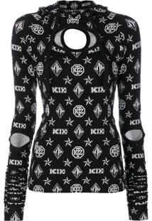 Ktz Blusa Com Bordado De Logo - Preto