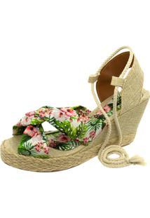 Sandália Anabela Mariha Calçados Laço Estampado - Kanui