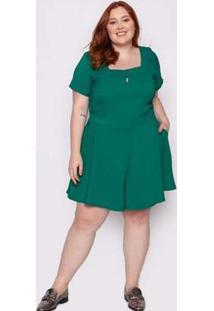 Macaquinho Almaria Plus Size Quebela Vincennes Verde Verde