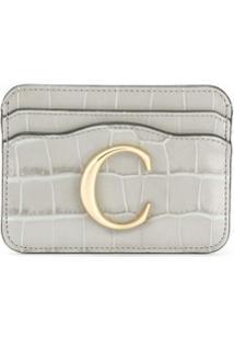 Chloé Carteira Com Logo C - Cinza