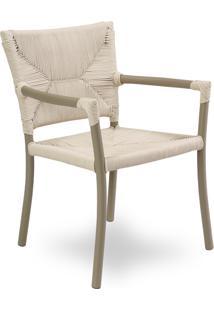 Cadeira Com Braço Vitali Área Externa Trama Corda Náutica Estrutura Alumínio Eco Friendly Design Scaburi