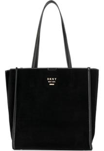 Dkny Logo Plaque Tote Bag - Preto