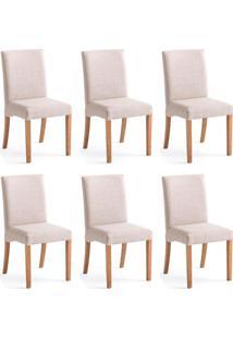 Conjunto Com 6 Cadeiras De Jantar Margaret Creme E Castanho