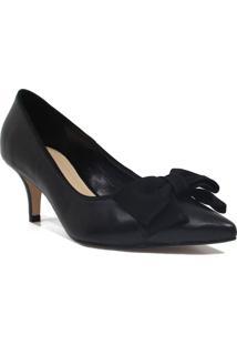 Sapato Zariff Shoes Scarpin Laço Bico Fino Preto