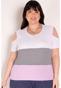 Blusa Tricolor Com Ombros Vazados Plus Size
