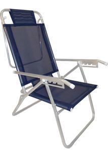 Cadeira Praia Reclinável Zaka Infinita Up Alumínio Até 100Kg Marinho