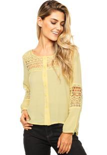 Camisa Manga Longa Facinelli Renda Amarela