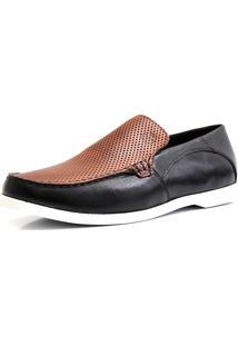 Mocassim Docksider Casual Moderno Magi Shoes Confortável Preto