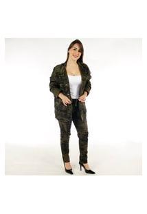 Jaqueta Camuflada Militar Premium Feminina - Ks Casual & Sport