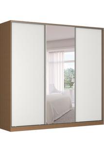 Guarda-Roupa Casal Com Espelho Tunas I 3 Pt 3 Gv Marrom E Branco