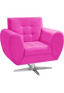 Poltrona Decorativa Grécia Suede Pink Com Base Giratória Estrela Aço Cromado - D'Rossi