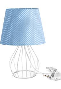 Abajur Cebola Dome Azul/Bolinha Com Aramado Branco