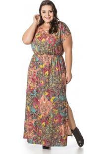 Vestido Miss Masy Longo Estampado Rosa Plus Size - Feminino-Rosa