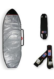 Capa Prancha Stand Up Paddle Sup 10'5 A 11'0 + Alça Transporte + Fita Rack Maori Extreme Refletiva Acolchoada Prata - Tricae