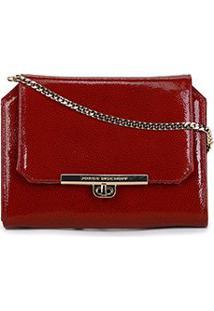 Bolsa Couro Jorge Bischoff Mini Bag Alça Corrente Feminina - Feminino-Vermelho Escuro