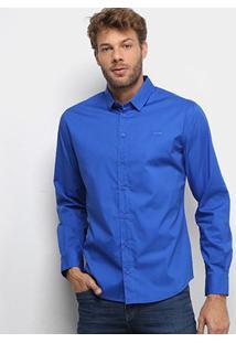 Camisa Manga Longa Colcci Slim Elastano Masculina - Masculino-Azul