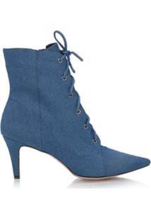 Luiza Barcelos Bota Cano Curto Jeans - Azul