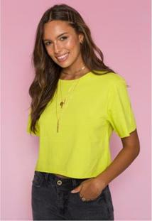 Blusa Cropped Neon Sislla Jenna Feminina - Feminino-Verde