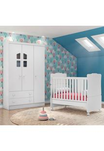 Quarto De Bebê Guarda Roupa Amore 3 Portas E Berço Branco - Qmovi
