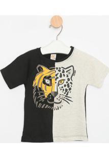 Camiseta Animal Com Recortes- Preta & Cinza Claro- Ccostã£O Fashion