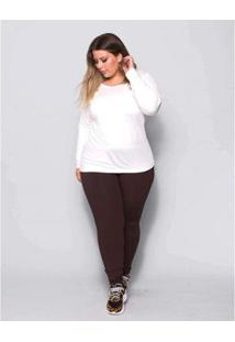 Calça Legging Plus Size Palank Feminina - Feminino-Marrom