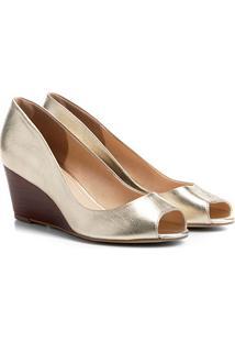 Peep Toe Couro Shoestock Anabela Fachete Feminino - Feminino-Dourado
